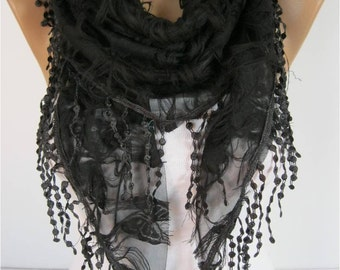 SALE ! 9.90 USD-Elegant  Black  Scarf - Cowl with Lace Edge - gift Ideas For Her Women's Scarves- gift- for her -Fashion accessories
