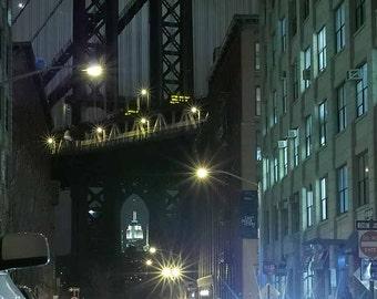 Print, Urban Landscape, Washington Street Night, DUMBO, Brooklyn, New York City USA, February 2012