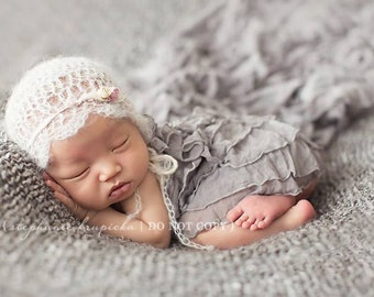 Gray Ruffle Layering Mini Blanket for Newborn Photography