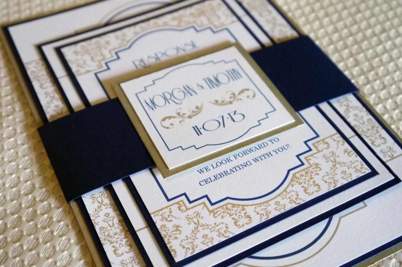 Navy Blue And Gold Wedding Invitations: Navy Gold Renaissance Art Deco Wedding Invitation