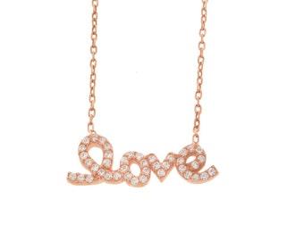 CZ LOVE Rose Gold Necklace