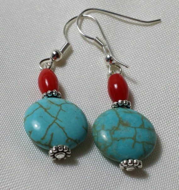 turquoise and coral earrings by cinswhims on etsy