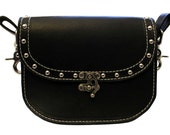 Handmade leather hip bag, belt bag, biker pouch, clips on belt loops, studded black leather