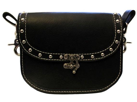 handmade leather hip bag belt bag biker pouch on belt
