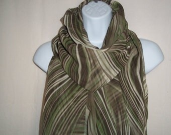 Infinity scarf in brown and greens, long silky scarf, light weight scarf #48