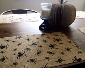Holiday - Spider Printed Halloween Burlap Placemats (set of four)