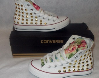 Floral Studded Converse Shoes