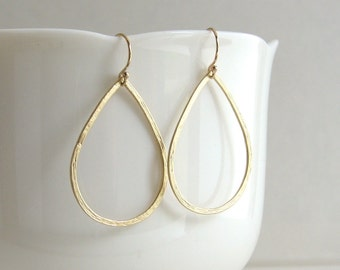 Delicate Hammered Teardrop Earrings, Gold Teardrop Hoops, Gold or Silver, Hoop Earrings - 14K Gold Fill or Sterling Silver Ear Wires