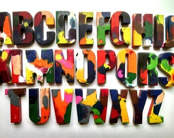 Multi colored alphabet crayons