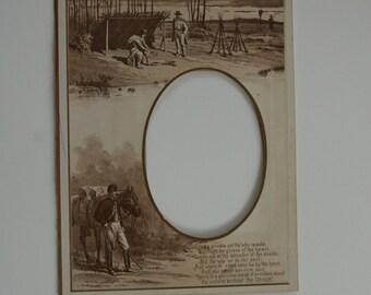 Antique Civil War Mat with Poem