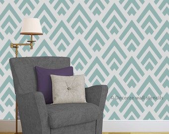 Home wall stenciling ideas, DIY home décor, Geometric reusable wall stencil pattern