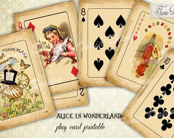 Alice in Wonderland playing cards, Desk, Digital Collage Sheet, Whimsical,Instant Download, Digital Paper. Tags
