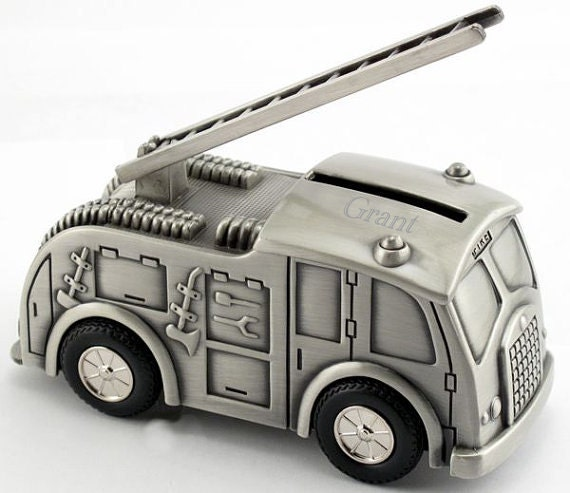 personalized fire truck coin bank a super baby shower gift. Black Bedroom Furniture Sets. Home Design Ideas