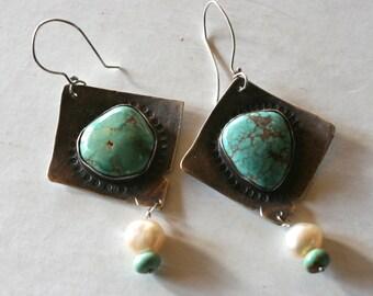 Amazing Pear Shaped Nevada Turquoise Earrings