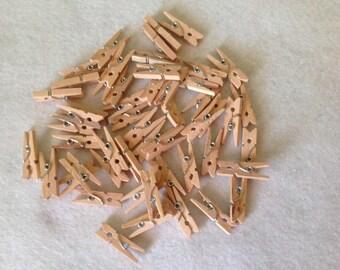 """Set of 50 1"""" mini wood clothes pins"""