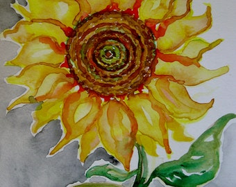 Sunflower watercolor painting, original painting