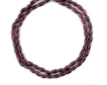 """14"""" 4x5mm-4x6mm Red Garnet Indian Rice Olive Oval Shape Hand Cut Purple Small Beads Spacers Stones Gemstones NOT Dyed"""