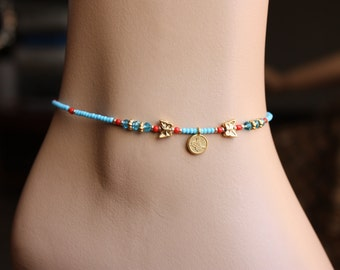 Authentic  Blue,Turquoise  and Khaki  Seed Bead  Anklet, Boho Anklet