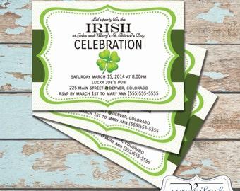 Printable St Patrick's Day Invitation - Shamrock