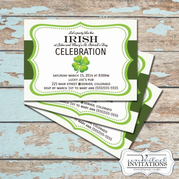 Printable St Patrick's Day Invitation - Shamrock