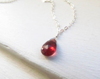 Garnet necklace January birthstone silver gold simple briolette style