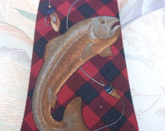 Vintage Ralph Lauren Plaid Fish Necktie