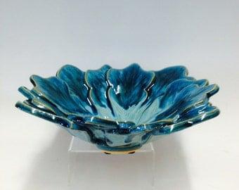 Turquoise Leaf Bowl / Handmade Pottery - Blue / Green / Decorative  Bowl / Leaf Designs