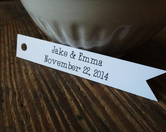 Custom Wedding Favor Tags-Set of  50-Thank You Tags, Flag Tags, Personalized Wedding Tags, Favor Gift Tags