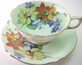 Antique 1940's Paragon  Tea cup And Saucer, Mint Green with flowers, English tea cup set, Fine bone china, Paragon tea cup and sauce set.