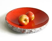 XL Awesome Carstens fat lava fruit dish bowl orange colours west german serving dish display centerpiece cake tray pottery ceramiction