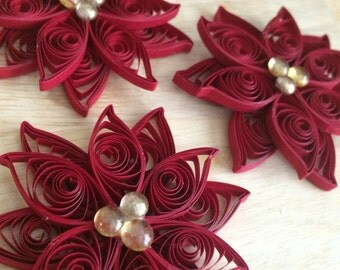 Set of 3 Quilled Poinsettia Ornaments - Crimson