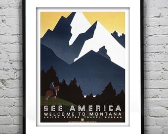 See America Montana Vintage Travel Art Print Poster Circa 1941 Version 2