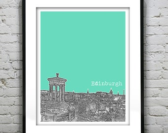 Edinburgh Poster Scotland Print Art Calton Hill Version 2
