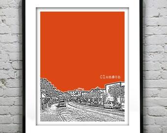 Clemson South Carolina Downtown City Skyline Poster Art Print SC