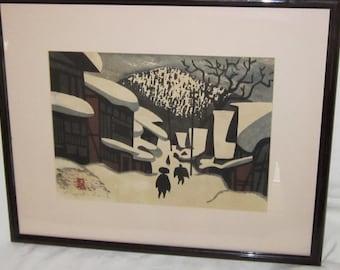 Vintage Japanese Kiyoshi Saito Wood Block Print