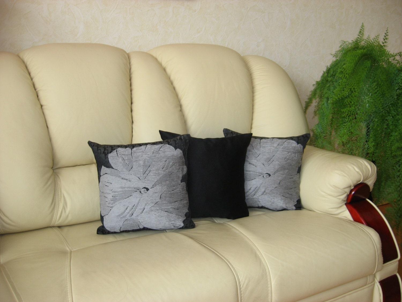 Grey flower Black pillow Handmade Throw pillow Cushion