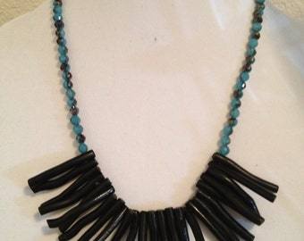 Light Aqua and Black Stick Necklace