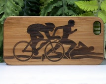 Triathlon iPhone 6S or iPhone 6 Case. Run Bike Swim. Eco-Friendly Bamboo Wood Skin Cover. Ironman Triathlete Athlete Gift iMakeTheCase Brand