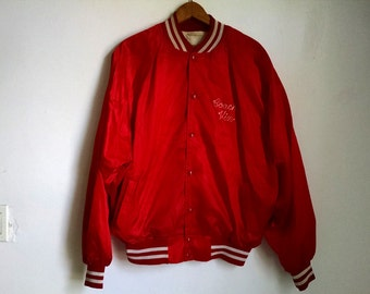 Red Vintage Athletic Jacket with White Stripes - Coach Vin 1985 - Large