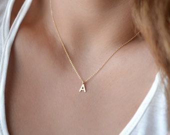 Letter Necklace Gold, Silver or Rose Gold, Small Initial Necklaces, Bridesmaid Gift Ideas