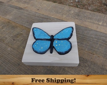 Wood Puzzle Butterfly! Blue Wooden Puzzle, Montessori Learning