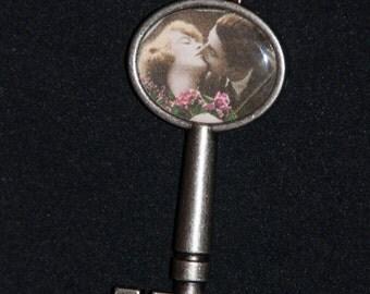 Valentine Key Heart Love Pendant Necklace #158
