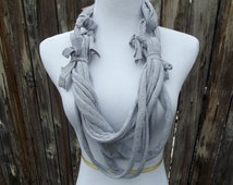 Unique Scarf-Cotton Scarf in Gray- Upcycled Cotton Women's T-shirt Scarf- Gray Scarf- Fall Scarf-Handmade 100% Cotton Material