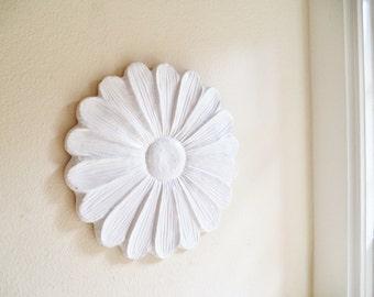 Daisy Wall Flower Sculpture, Over sized white flower, modern floral art