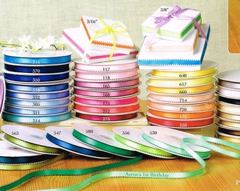 """3/8"""" Satin Ribbon 50 Yard Double Faced Feather Edge Picot 100% Polyester U-Pick Many Color"""