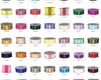 """1/16""""(2mm) Double Faced Satin Ribbon 100 Yards """"PICK YOUR COLORS"""" 100% polyester"""
