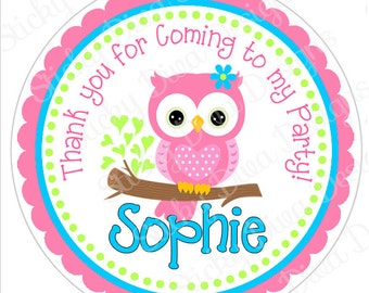 PERSONALIZED STICKERS - Adorable Girly Owl Sticker Labels  - Round Gloss Labels or Tags