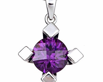 amethyst and sterling silver pendant necklace, amethystst jewelry' silver and amethyst necklace