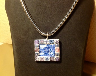 Beautiful necklace, with Panel of portuguese tile, from Madeira island.