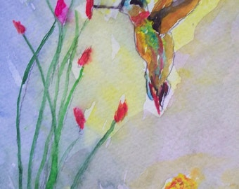 Hummingbird with Cactus 5x7, Original impressionistic watercolor painting by BECKY
